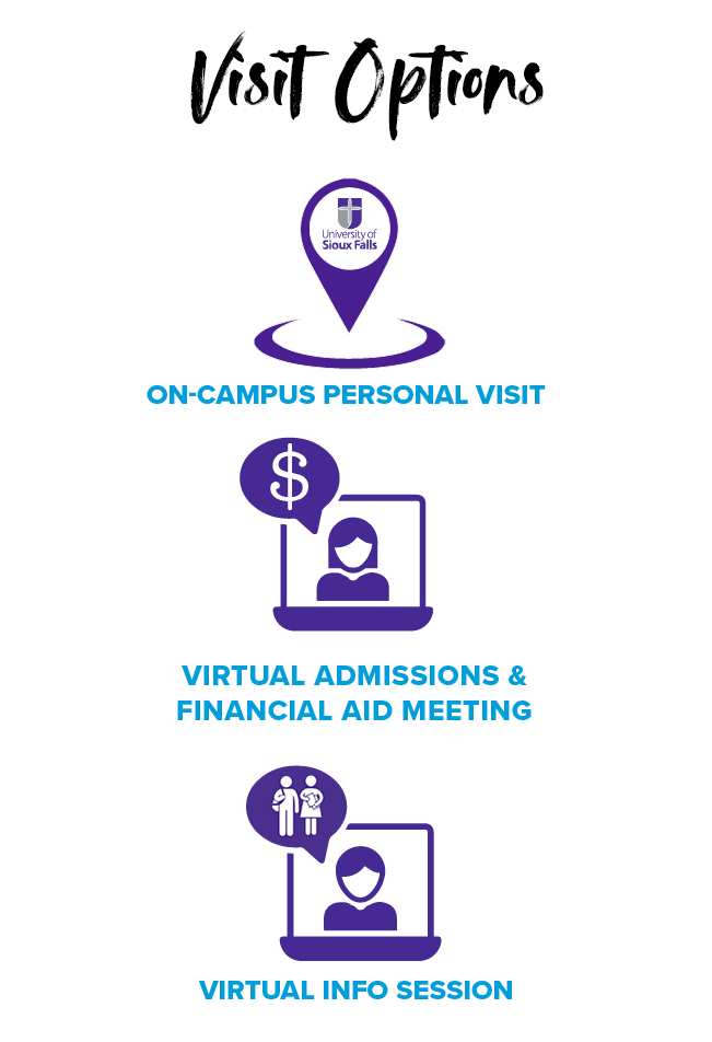 Choose the visit option that works for you: virtual info session, on-campus personal visit, virtual admissions & financial aid meeting or Saturday visits (starting in September.