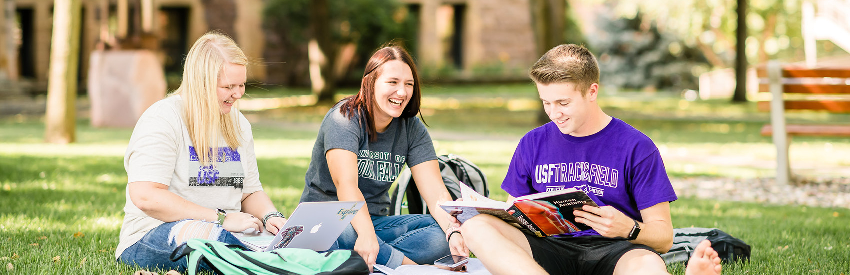 Students studying on USF's campus quad.