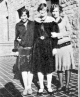 Female students in front of Glidden Hall in the 1920's.