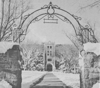 Historical photo of Jorden Hall in winter.
