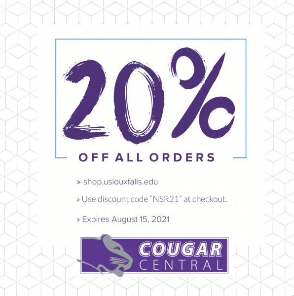 20% off all orders at shop.usiouxfalls.edu Use discount code NSR21 at checkout