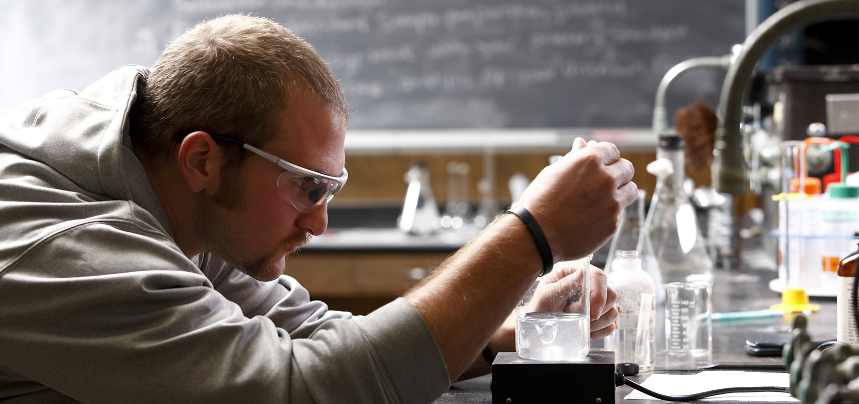 USF student in the science lab.