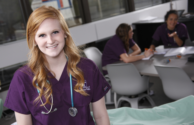 Female nursing student in class at USF.