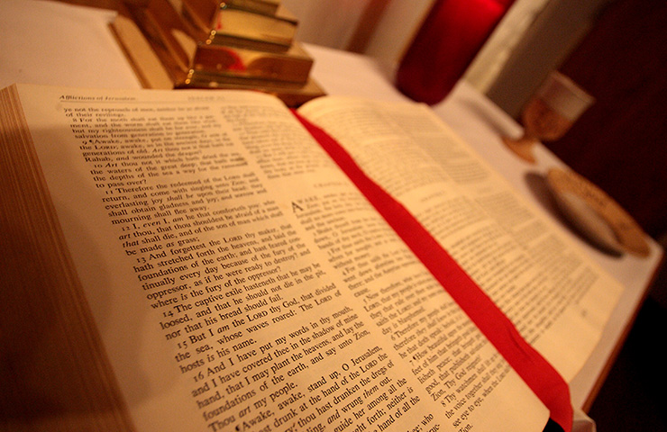 The Bible setting on a table.