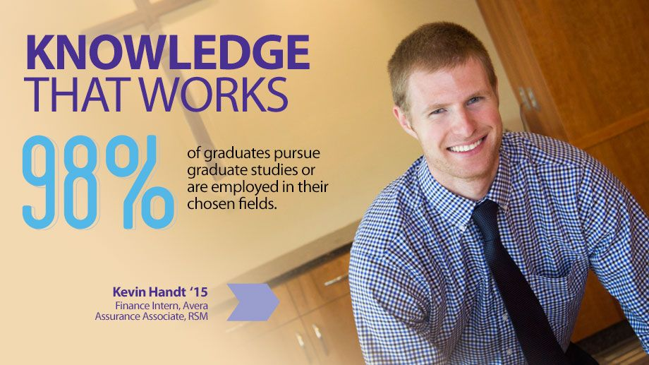 Knowledge that works. 98% of graduates pursue graduate studies or are employed in their chosen fields.
