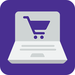 Shopping cart in computer icon